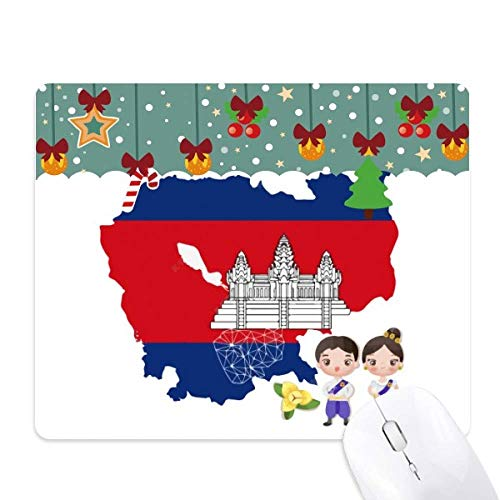 Cambodia Map Villain National Flower Mouse Pad Game Office Mat Christmas Rubber Pad