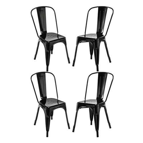 Bistro Stackable (Modern Classic Old-School Style Metal Bar Stools Solid Steel Construction Comfortable Backrest Stackable Bistro Side Chair Home Office Furniture - Set of 4 Black #1526)