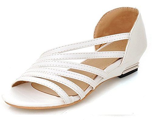 Mofri Women's Comfy Open Toe Wedge Low Heel Slip on Wide Width Gladiators Sandals White 4 B(M) US ()