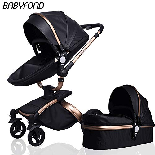 GAOY 3 in 1 Baby Stroller for Newborns Sleeping Basket High Landscape Travel System 360 Rotation Baby Carriage with Folding Prams for Children,Black-2in1