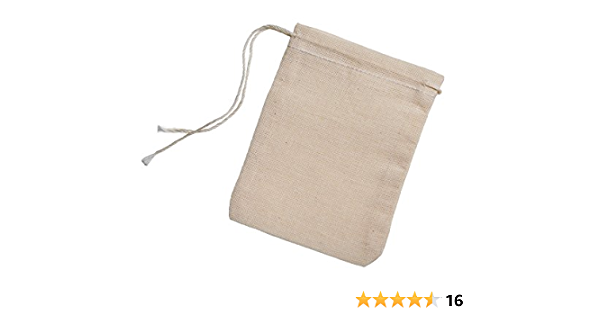 Great for Packaging Premium Quality Red Hem and Yellow Drawstring 6 x 8 Inches Cotton Muslin Bags Great Value