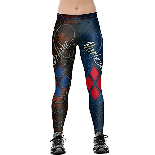 JORYEE Women's Harley Quinn Cartoon Print Seamless Skinny Stretchy Workout Leggings L Navy]()