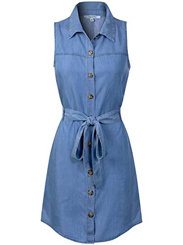 (Design by Olivia Women's Classic Sleeveless Blue Jean Button Down Denim Pocket Collar Shirt Dress Blue S)
