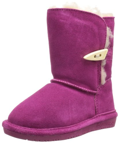 BEARPAW Abigail Shearling Boot (Toddler/Big Kid),Pom Berry,5 M US Toddler