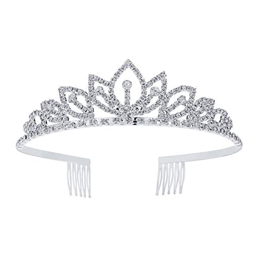 Princess Crystal Tiara Crown with Comb Women Girls Cosplay Party Queen Bridal Wedding Hair Jewelry Headband (Diameter :5.5'') (Silver)]()