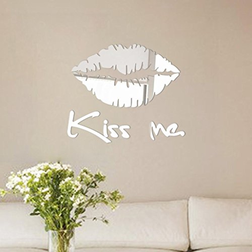XUANOU Removable Lip Pattern Mirror Wall Sticker Decal Art Mural Home Room Decor (Silver)