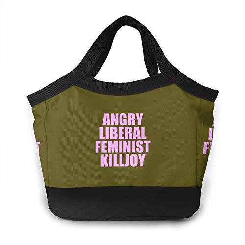 FKCUYPL Waterproof Lunch Bags Angry Liberal Feminist Killjoy Tote Bag Large for Outdoor