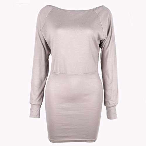 Camiseta Top Bodycon fiesta de Jersey la hombro de Jumper noche Caqui Dress Slim de mujer Off Mini manga larga ISASSY vendaje UHCqq