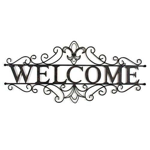 Collectible Badges Decorative Wrought Iron Metal Welcome Wall Plaque