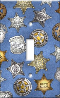 Art Plates - Sheriff Badges (Denim) Switch Plate - Single Toggle Denim Plate