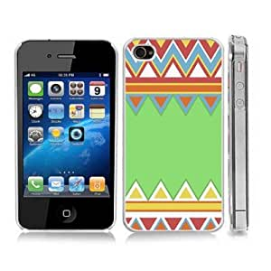 Colorful Aztec Pattern Chevron Zig Zag Snap-On Cover Hard Carrying Case for iPhone 4/4S (Clear)