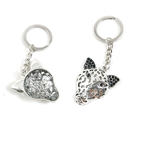 100 PCS Leopard Head Keychain Keyring Jewelry Making Charms Door Car Key Tag Chain Ring J5YY9C by ChinaTownUS