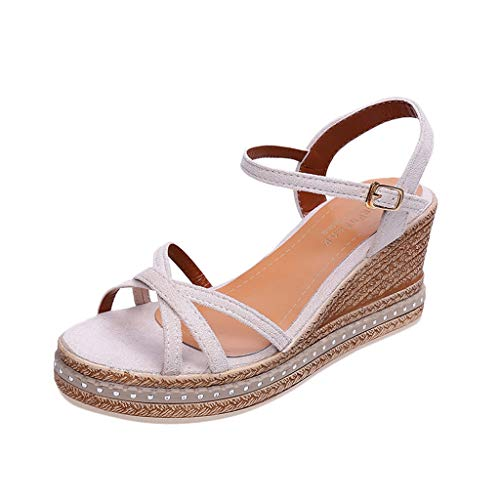 MmNote Women Shoes, Women's Criss Cross Comfortable Buckle Shallow Mouth Casual Shoes High-Heel Wedge Sandals Beige ()