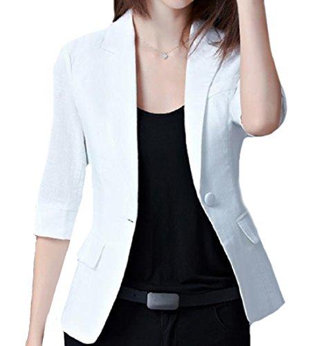 SportsX Women's Flap Pockets Cotton Linen One Button Blazer Jacket White - Blazer Women Linen