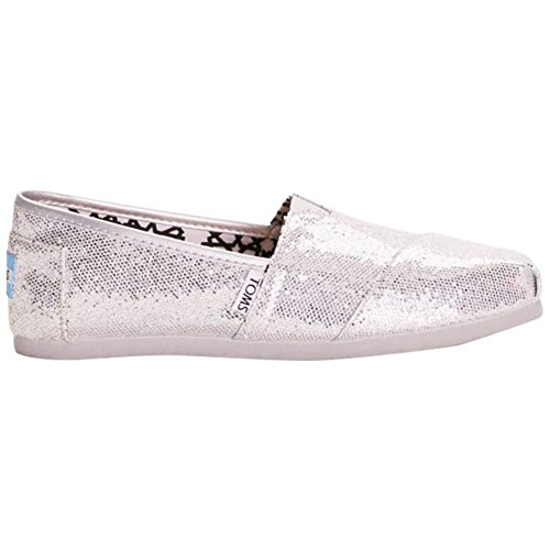 Toms Glitter Classic Slip-On Shoes Style 001013B07, Silver, 9