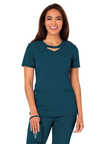 Careisma Women's Round Neck Solid Scrub Top, Caribbean Blue, Medium ()