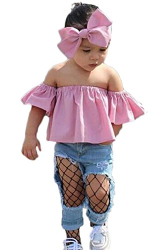 (Kids Baby Girls Off-Shoulder T-Shirt and Hole Denim Pants With Headband Set Size 3-4Years/110cm (Pink))