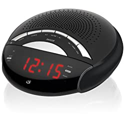 GPX C222B AM/FM Clock Radio with Dual Alarms (Black)