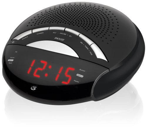 GPX C222B AM/FM Clock Radio with Dual Alarms