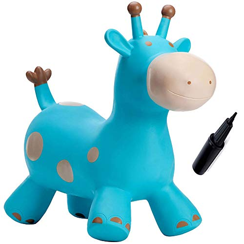(Babe Fairy Bouncy Horse-Bouncing Horse Animal Hopper-Inflatable Jumping Horse Toy for Toddlers (Blue)