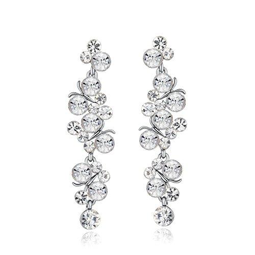 (Sinlifu Crystal Wedding Hypoallergenic Drop Earrings Silver Plated Women Earring with AAAAA CZ Diamond (White))