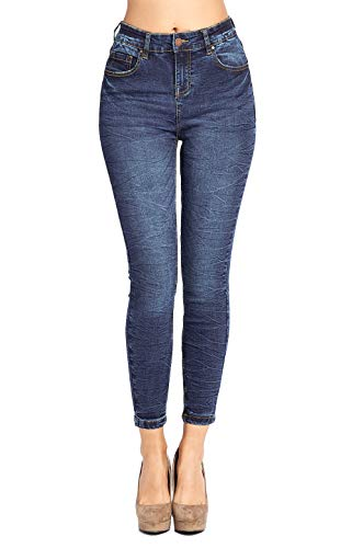 Blue Age Women's Butt Lifting Skinny Jeans High Rise Denim (JP1084H_DK_3)