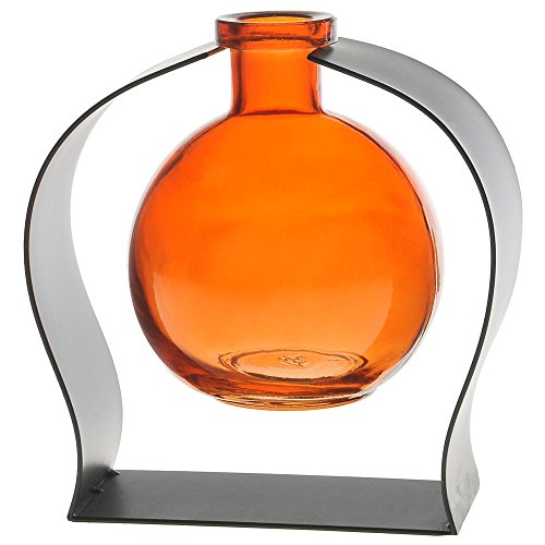 (Couronne Company M244-200-08 Ball Recycled Glass Vase & Arched Metal Stand, 5 3/4