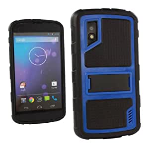 Deluxe Hybrid Case Cover for Google Nexus 4 LG E960 Black/Blue + Screen Protector