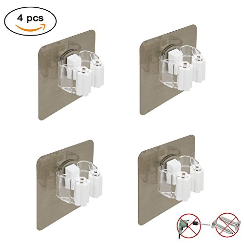 Broom Mop Holder, Broom Gripper Holds Self Adhesive Reusable No Drilling Super Anti-Slip, Wall Mounted Storage Rack Storage & Organization for Your Home, Kitchen and Wardrobe (4, Golden/White)