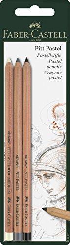 Pitt Monochrome Set (Faber-castell Pitt Pastel Pencils Set - White Medium, Cold Grey Iv And Black)