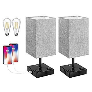 Bedside Lamp, 3 Way Dimmable Touch Control Table Lamp with 2 USB Charging Ports 2 AC Outlet, Nightstand Lamp with Grey Fabric Shade Bedroom Lamp for Bedroom Set of 2 for Living Room, Reading, Office