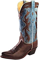 Old West Cowboy Boots Womens Snip Goodyear Inlay Chocolate LF1526