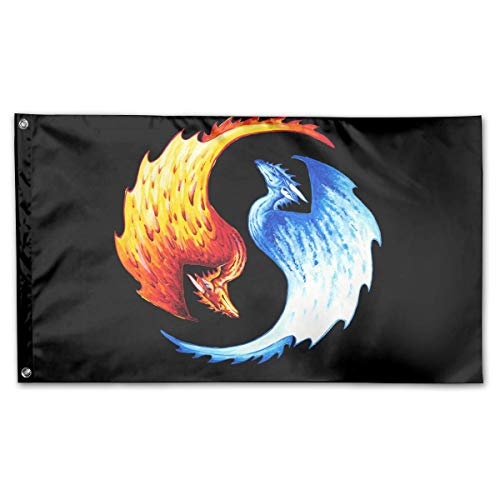 - WINDST Personalized Yin Yang Water and Fire Dragons Logo Garden Flag 3x5 ft Outdoor Garden Decorative Banner Black