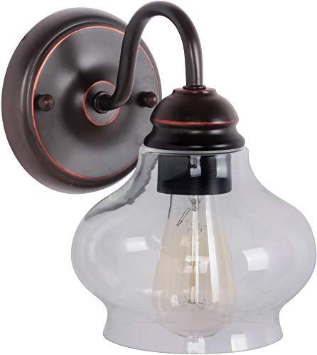 "Craftmade 35001-OBG Yorktown Victorian Glass Wall Sconce Lighting, 1-Light, 60 Watts, Oiled Bronze Gilded (6"" W x 9"" H)"