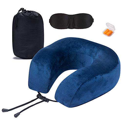 Neck Protective Travel Pillow, Ultra Comfort Memory Foam and Super Soft Cover, Plus Travel Accessories: EarPlug and Sleep ()