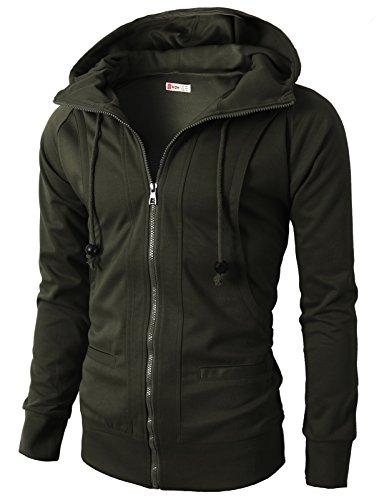 H2H Mens Premium Heavyweight Contrast Raglan Sleeve Pullover Hoodie Zip-up KHAKI US 2XL/Asia 4XL (KMOHOL019)