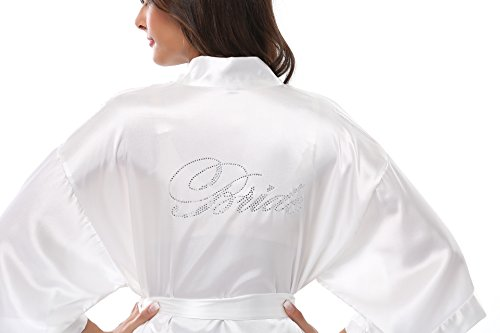 Vogue Bridal Womens Satin Rhinestone Short Wedding Kimono Robe for Bride, M