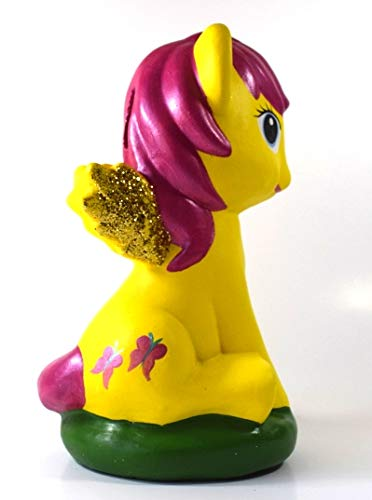 americano84 May Little Pony (Fluttershy) Ceramic Piggy Bank Unopenable Savings Bank,Kids Room Decor(Hand Painted) Ceramic Money,Coin Bank for Kids.