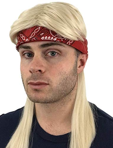 Hisilli 2 pc. Premium Blonde Mullet Rocker Wig + Red Bandana: 80s Rockstar Wig Costume 90s 70s 80s Wigs for Men Women Kids Adults Kid's Rocker Costumes Blond Rock Star 80's Wigs Halloween Mens Rock Wigs,One Size -