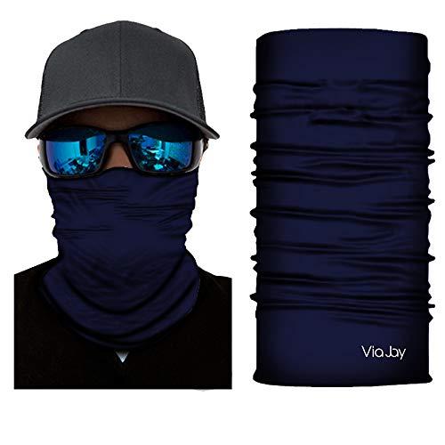 Navy Mask Face Back - ViaJay Multifunctional UV Sun Protection Face Neck Gaiter Mask, Outdoors, Headband, Bandana, Fishing, Hunting, Motorcycling, Skateboarding Men & Women - Skin Safe (Navy)