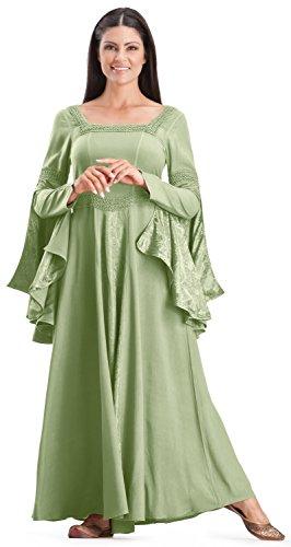 [HolyClothing Arwen Square Neck Renaissance Medieval Princess Gown Dress - 4X-Large - Sage Green] (Green Medieval Dress)