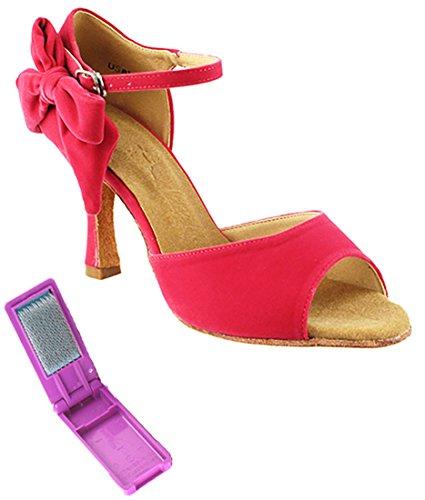Very Fine Ballroom Latin Tango Salsa Dance Zapatos Para Mujeres Sera7010 3-inch Heel + Plegable Brush Bundle Peach