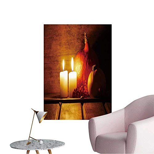 Wall Decorative Two Candles Burning in Wooden hut Big Orange Pumpkin in The Background Halloween Setting Pictures Wall Art Painting,28