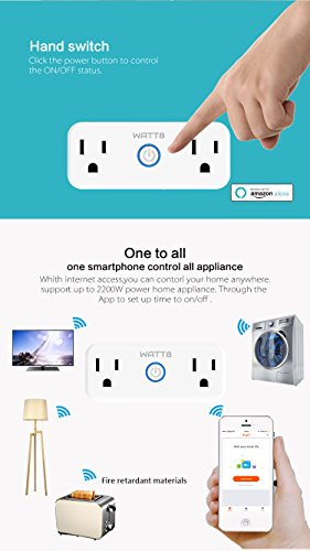 WATT8 Mini Wi-Fi Smart Plug, Dual Outlet, Works with Amazon Alexa and Google Assistant, No Hub Required, Control Your Appliances by Smart Phone and voice With Timing Function From Anywhere by WATT8 (Image #3)