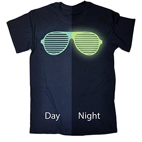 GITD Kids Glow In The Dark ... Rave Sunglasses (Age-5-6 - NAVY) KIDS T SHIRT