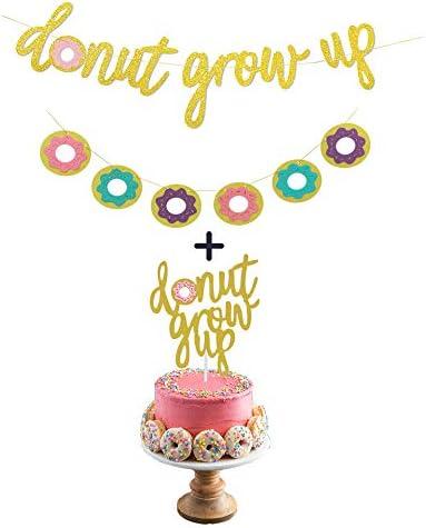 Enjoyable Donut Birthday Party Decorations Kit Gold Glitter Donut Grow Up Funny Birthday Cards Online Benoljebrpdamsfinfo