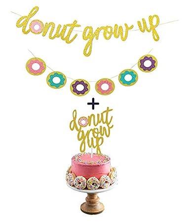 Amazon.com: Donut Birthday Party Decorations Kit Gold Glitter Donut ...