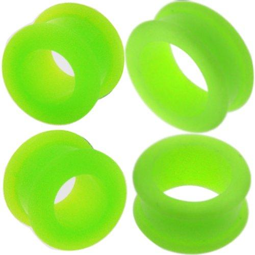 9/16 5/8 11/16 3/4 7/8 15/16 1 inch 0 00 Gauges Gauge 8mm 10mm 12mm 14mm 16mm 18mm 20mm 22mm 24mm 26mm Flesh Tunnels Flesh Tunnel Screw Double Flare Flared Ear Plugs Gauges Stretcher Expander Silicone Body Piercing Jewelry Ear Plug Earlets Expanders Ears Earring Earrings Green (0g = 8mm) ()