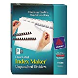 Index Maker Clear Label Unpunched Divider, 8-Tab, Letter, White, 25 Sets, Sold as 25 Set