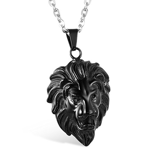 tainless Steel Black Lion Head Pendant Necklace, 22 inch Chain ()